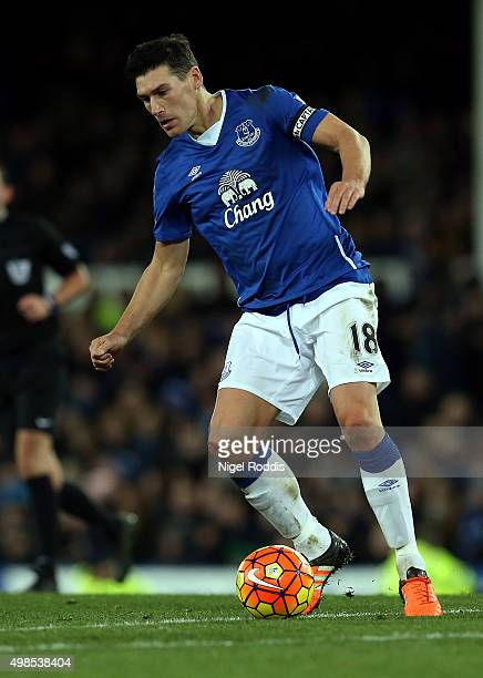 Gareth Barry of Everton during the Barclays Premier League match between Everton and Aston Villa at Goodison Park on November 21 2015 in Liverpool...