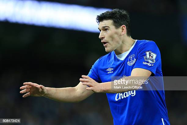 Gareth Barry of Everton gestures during the Capital One Cup SemiFinal Second Leg match between Manchester City and Everton at the Etihad Stadium on...