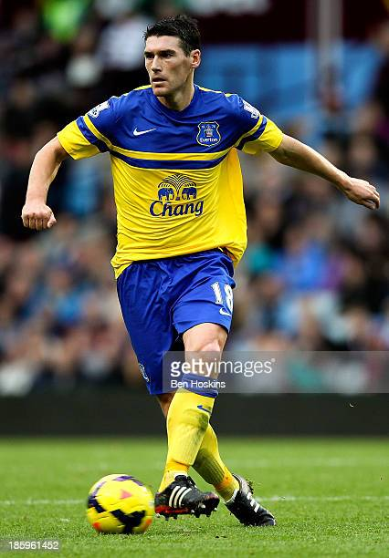 Gareth Barry of Everton in action during the Barclays Premier League match between Aston Villa and Everton at Villa Park on October 26 2013 in...