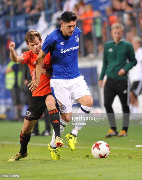 Gareth Barry of Everton in action during the UEFA Europa League Qualifier between MFK Ruzomberok and Everton on August 3 2017 in Ruzomberok Slovakia