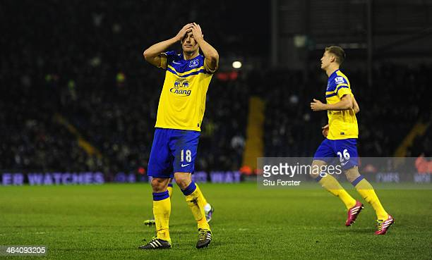 Gareth Barry of Everton reacts after his last minute goal is not given during the Barclays premier league match between West Bromwich Albion and...