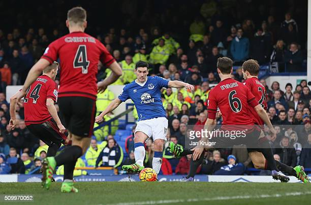 Gareth Barry of Everton shoots at goal during the Barclays Premier League match between Everton and West Bromwich Albion at Goodison Park on February...