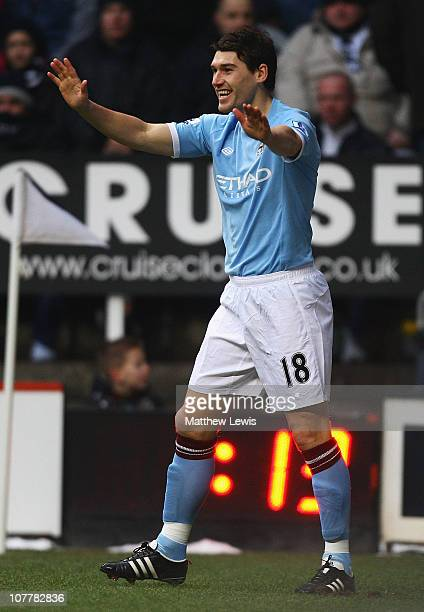 Gareth Barry of Manchester City celebrates his goal during the Barclays Premier League match between Newcastle United and Manchester City at St...