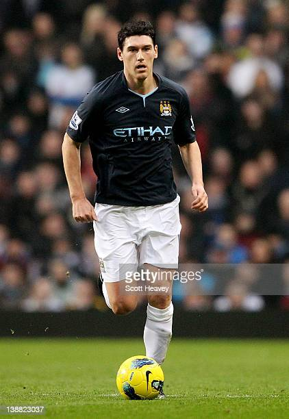 Gareth Barry of Manchester City during the Barclays Premier League match between Aston Villa and Manchester City at Villa Park on February 12 2012 in...