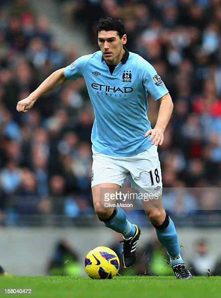 Gareth Barry of Manchester City in action during the Barclays Premier League match between Manchester City and Manchester United at the Etihad...