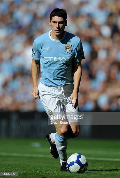 Gareth Barry of Manchester City in action during the Barclays Premier League match between Manchester City and Arsenal at the City of Manchester...