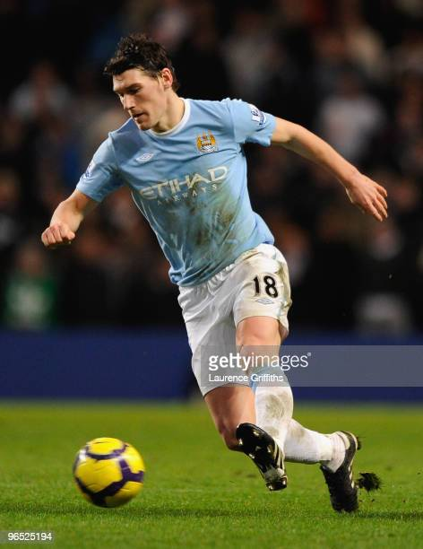 Gareth Barry of Manchester City in action during the Barclays Premier League match between Manchester City and Bolton Wanderers at the City of...