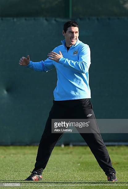 Gareth Barry of Manchester City warms up during a training session at the Carrington Training Ground on November 5, 2012 in Manchester, England.