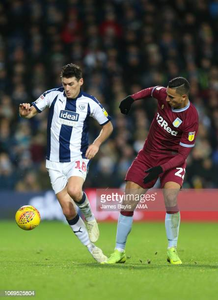 Gareth Barry of West Bromwich Albion and Anwar El Ghazi of Aston Villa during the Sky Bet Championship match between West Bromwich Albion and Aston...