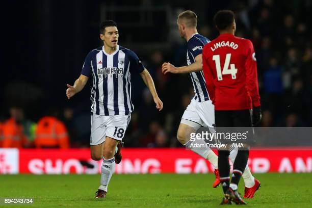Gareth Barry of West Bromwich Albion celebrates after scoring a goal to make it 12 during the Premier League match between West Bromwich Albion and...
