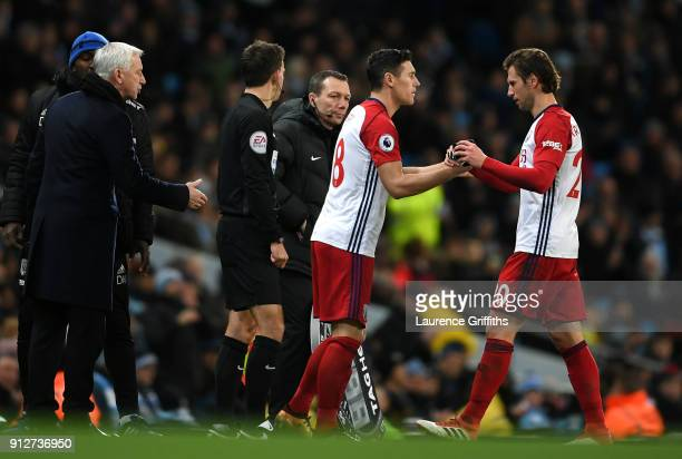 Gareth Barry of West Bromwich Albion comes on for Grzegorz Krychowiak of West Bromwich Albion during the Premier League match between Manchester City...