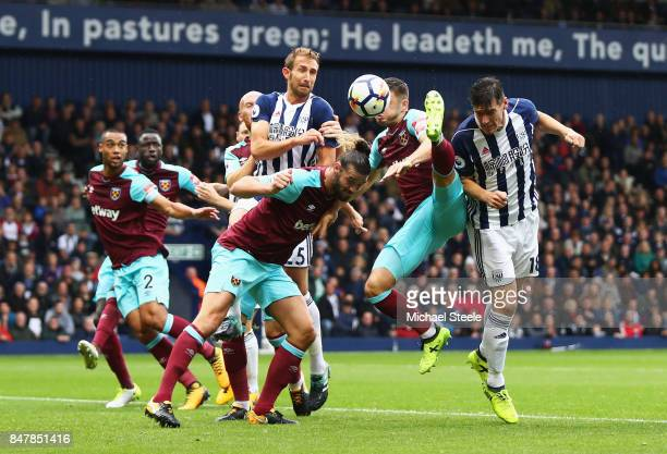 Gareth Barry of West Bromwich Albion heads towards goal during the Premier League match between West Bromwich Albion and West Ham United at The...