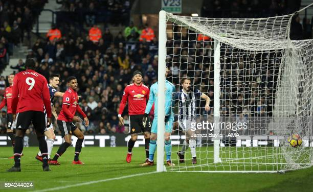 Gareth Barry of West Bromwich Albion scores a goal to make it 12 during the Premier League match between West Bromwich Albion and Manchester United...