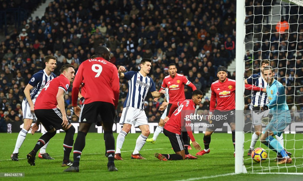 Gareth Barry of West Bromwich Albion scores his sides first goal during the Premier League match between West Bromwich Albion and Manchester United at The Hawthorns on December 17, 2017 in West Bromwich, England.