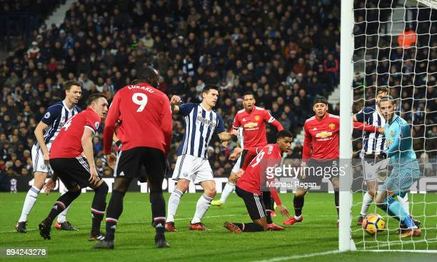 Gareth Barry of West Bromwich Albion scores his sides first goal during the Premier League match between West Bromwich Albion and Manchester United...