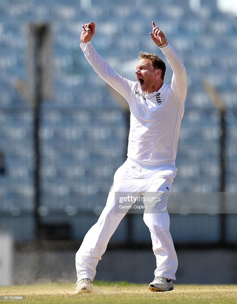 Gareth Batty of England successfully appeals for the wicket of Mahmudullah of Bangladesh during the 4th day of the 1st Test match between Bangladesh and England at Zohur Ahmed Chowdhury Stadium on October 23, 2016 in Chittagong, Bangladesh.