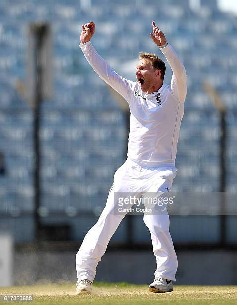 Gareth Batty of England successfully appeals for the wicket of Mahmudullah of Bangladesh during the 4th day of the 1st Test match between Bangladesh...