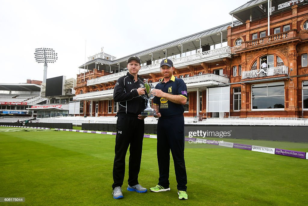 Gareth Batty of Surrey (L) and Ian Bell of Warwickshire (R) both pose with the Royal London One Day Cup trophy in front of the Pavillion during the Royal London One Day Cup Final Previews at Lords on September 16, 2016 in London, England.