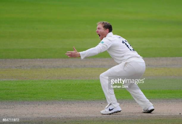 Gareth Batty of Surrey appeals during the County Championship Division One match between Lancashire and Surrey at Old Trafford on September 27 2017...