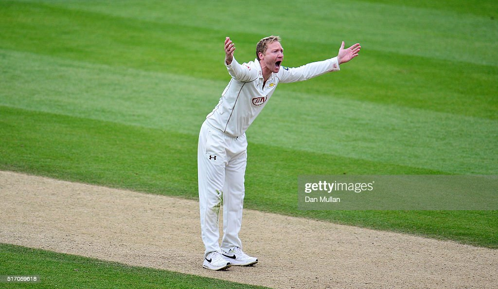Gareth Batty of Surrey appeals unsuccessfully for the wicket of Paul Stirling of Middlesex during day two of the pre-season friendly between Surrey and Middlesex at The Kia Oval on March 23, 2016 in London, England.