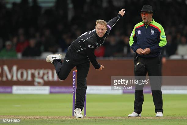 Gareth Batty of Surrey bowls during the Royal London OneDay Cup Final match between Surrey and Warwickshire at Lord's Cricket Ground on September 17...