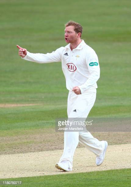 Gareth Batty of Surrey celebrates dismissing Daniel Bell-Drummond of Kent during day two of the Specsavers County Championship Division One match...