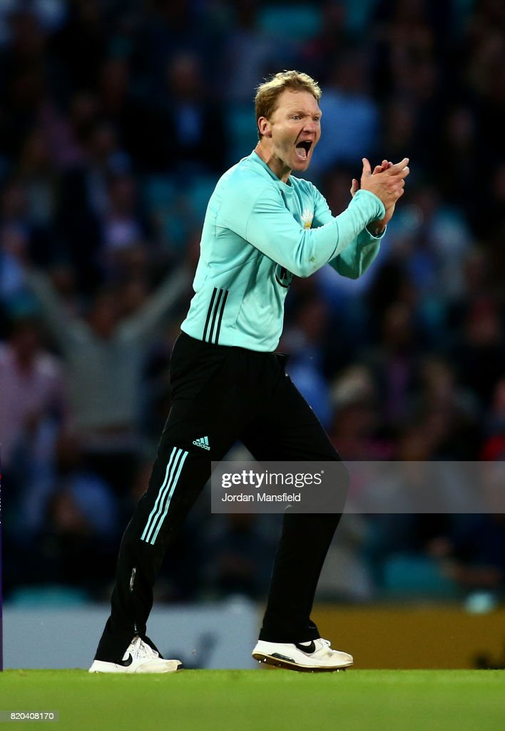 Gareth Batty of Surrey celebrates dismissing Eoin Morgan of Middlesex during the NatWest T20 Blast Surrey and Middlesex at The Kia Oval on July 21, 2017 in London, England.
