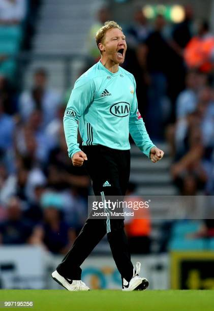 Gareth Batty of Surrey celebrates dismissing Ravi Bopara of Essex during the Vitality Blast match between Surrey and Essex Eagles at The Kia Oval on...