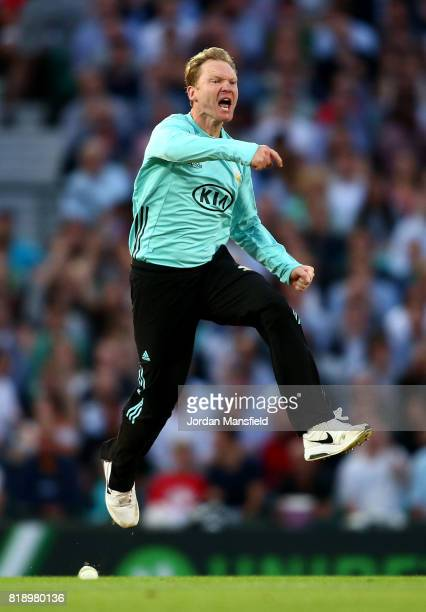 Gareth Batty of Surrey celebrates dismissing Ryan ten Doeschate of Essex during the NatWest T20 Blast match between Surrey and Essex Eagles at The...