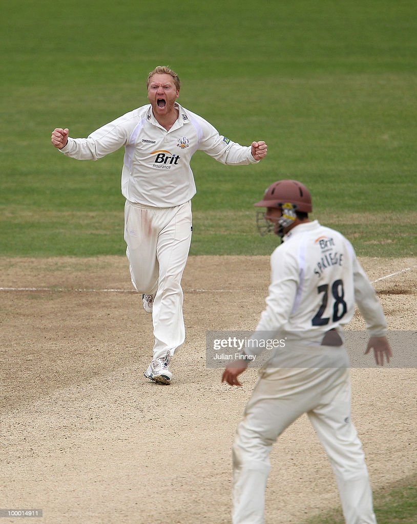Gareth Batty of Surrey celebrates taking the wicket of Scott Newman of Middlesex during day four of the LV= County Championship Division Two match between Surrey and Middlesex at The Brit Oval on May 20, 2010 in London, England.