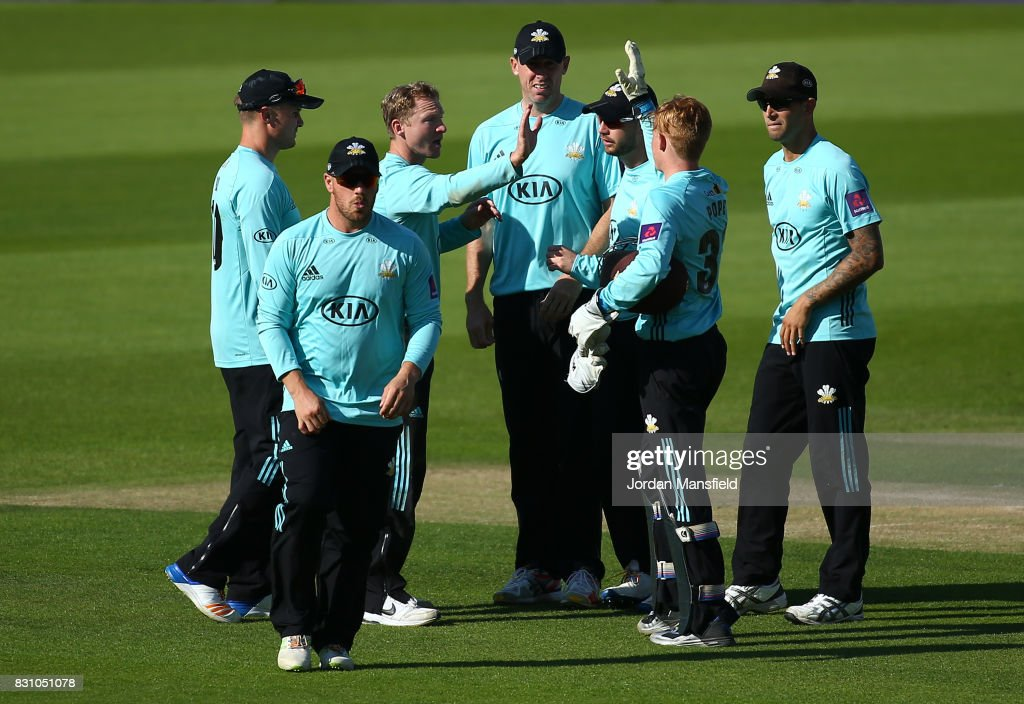 Gareth Batty of Surrey celebrates with his teammates after dismissing Ross Taylor of Sussex during the NatWest T20 Blast match between Surrey and Sussex Shark at The Kia Oval on August 13, 2017 in London, England.