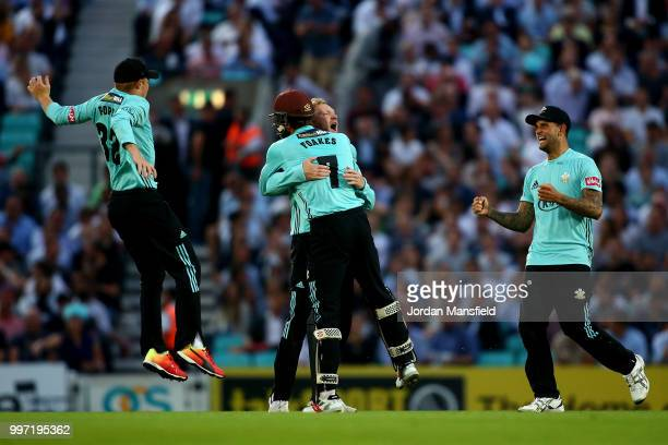 Gareth Batty of Surrey celebrates with his teammates after dismissing Tom Westley of Essex during the Vitality Blast match between Surrey and Essex...