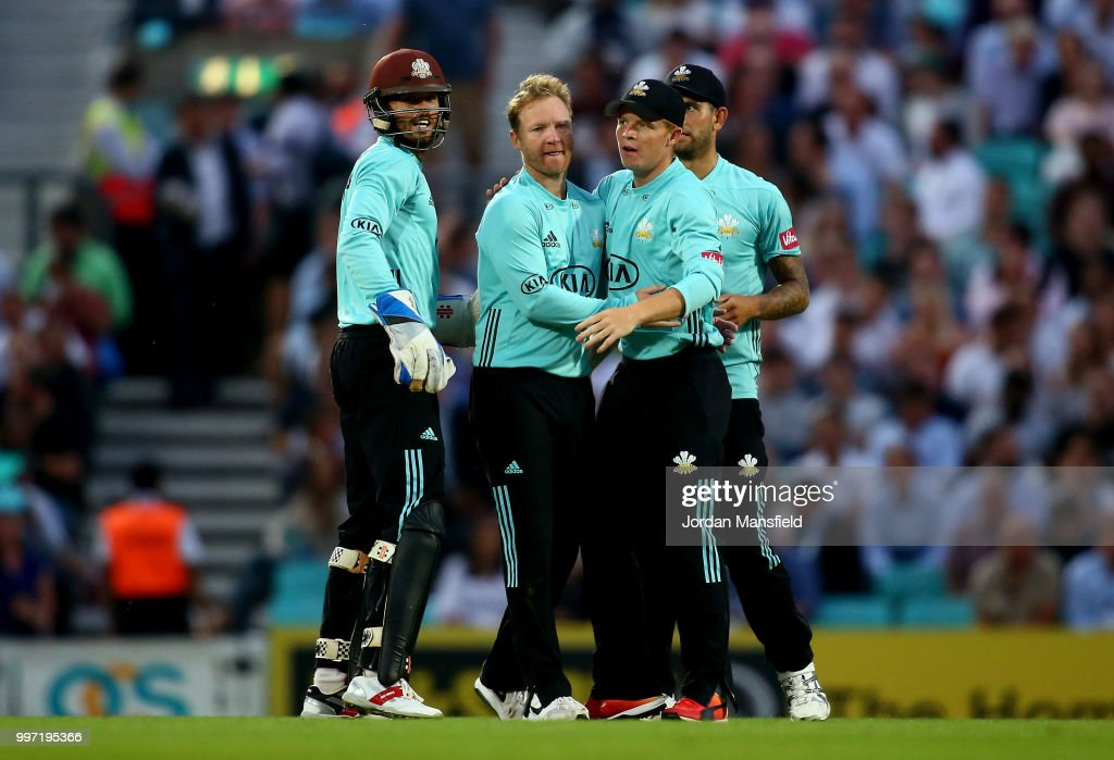 Gareth Batty of Surrey celebrates with his teammates after dismissing Tom Westley of Essex during the Vitality Blast match between Surrey and Essex Eagles at The Kia Oval on July 12, 2018 in London, England.