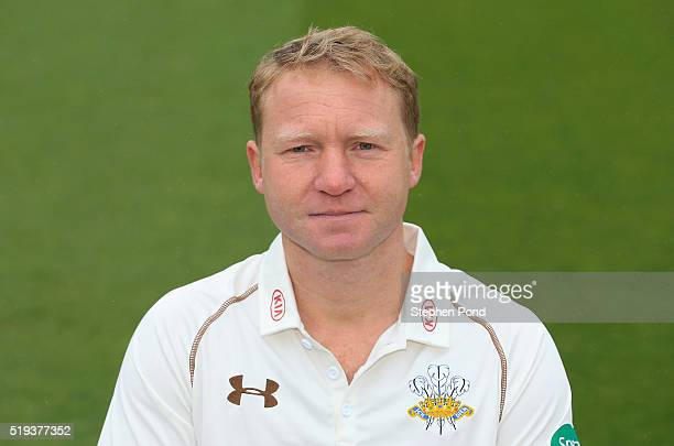 Gareth Batty of Surrey during the Surrey County Cricket Club media day at The Kia Oval on April 6 2016 in London England