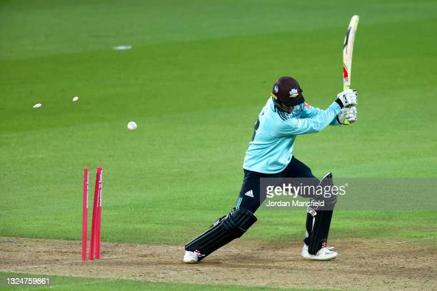 Gareth Batty of Surrey is bowled by Sam Cook of Essex Eagles during the Vitality T20 Blast match between Surrey and Essex Eagles at The Kia Oval on...