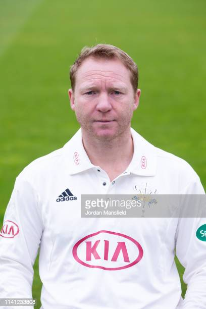 Gareth Batty of Surrey poses for a photo during a training session at The Kia Oval on April 08, 2019 in London, England.
