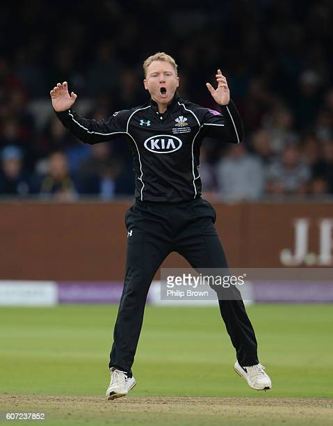 Gareth Batty of Surrey reacts during the Royal London oneday cup final cricket match between Warwickshire and Surrey at Lord's cricket ground on...