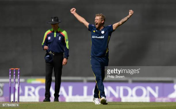 Gareth Berg of Hampshire celebrates after dismissing Gary Ballance of Yorkshire Vikings during the Royal London OneDay Cup SemiFinal match between...