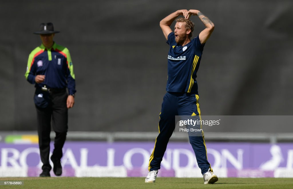 Gareth Berg of Hampshire celebrates after dismissing Gary Ballance of Yorkshire Vikings during the Royal London One-Day Cup Semi-Final match between Hampshire and Yorkshire Vikings at the Ageas Bowl on June 18, 2018 in Southampton, England.