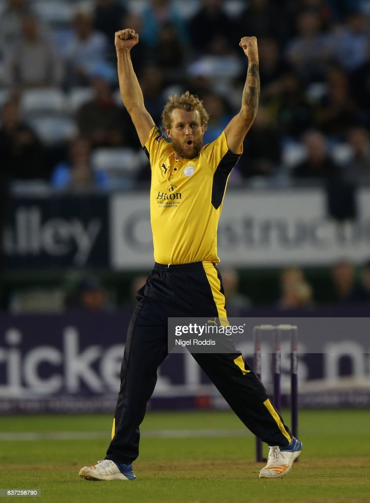 Gareth Berg of Hampshire celebrates taking the wicket of Matt Critchley of Derbyshire Falcons during the NatWest T20 Blast at The 3aaa County Ground on August 22, 2017 in Derby, England.