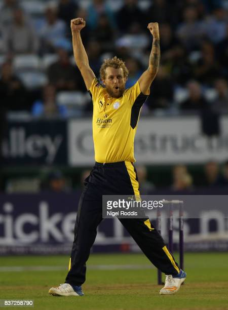 Gareth Berg of Hampshire celebrates taking the wicket of Matt Critchley of Derbyshire Falcons during the NatWest T20 Blast at The 3aaa County Ground...