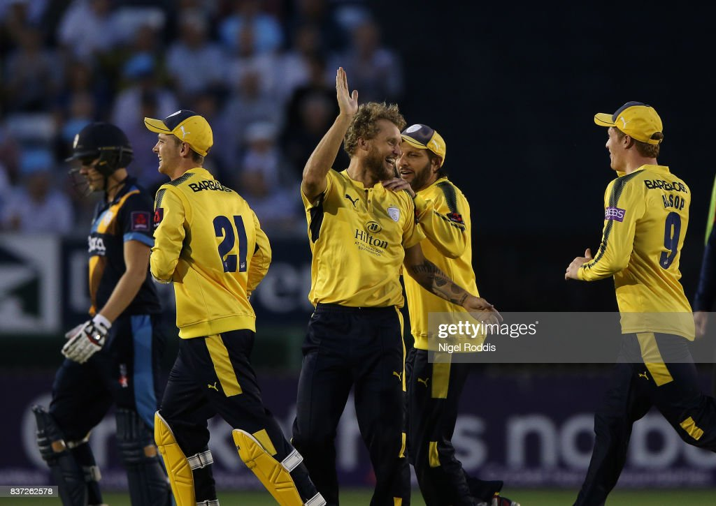 Gareth Berg (C) of Hampshire celebrates with teamates after taking the wicket of Matt Critchley (L) of Derbyshire Falcons during the NatWest T20 Blast at The 3aaa County Ground on August 22, 2017 in Derby, England.