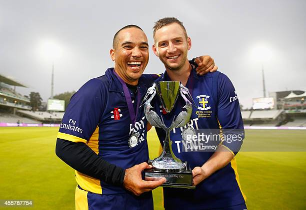 Gareth Breese and captain Mark Stoneman of Durham with the trophy after their win over Warwickshire in the Royal London OneDay Cup 2014 Final at...