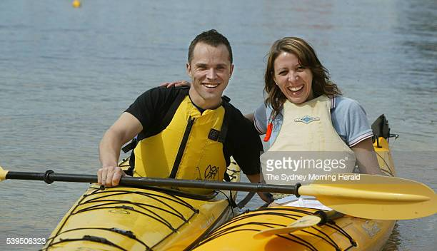 Gareth Davidson and Allison Salmon on their Kiss and Tell date before their Kayak trip around Sydney Harbour from The Spit 11 Sepetmber 2004 SMH...