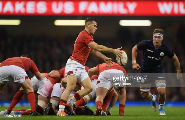 Gareth Davies of Wales kicks the ball from the ruck during the International Friendly match between Wales and Scotland at the Principality Stadium on...