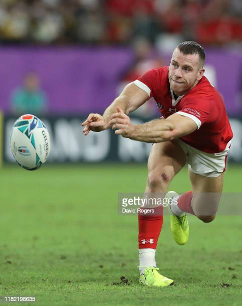 Gareth Davies of Wales passes the ball during the Rugby World Cup 2019 Quarter Final match between Wales and France at Oita Stadium on October 20,...
