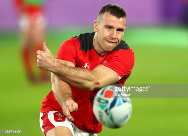 Gareth Davies of Wales passes the ball during warm up prior to the Rugby World Cup 2019 Semi-Final match between Wales and South Africa at...