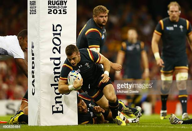 Gareth Davies of Wales scores a try during the 2015 Rugby World Cup Pool A match between Wales and Fiji at the Millennium Stadium on October 1, 2015...