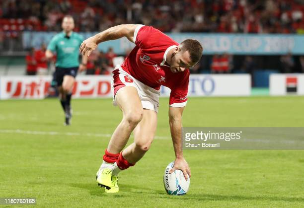 Gareth Davies of Wales touches down to score his team's fifth try during the Rugby World Cup 2019 Group D game between Wales and Uruguay at Kumamoto...