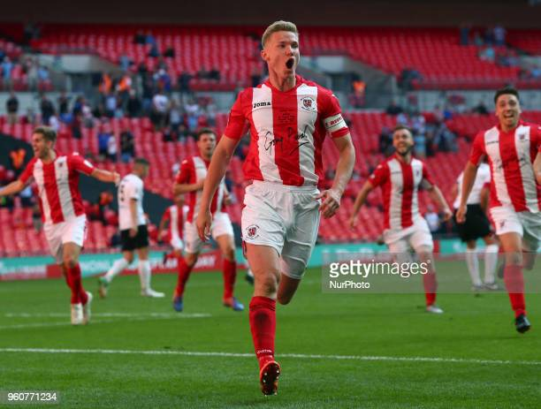 Gareth Dean of Brackley Town celebrates scoring his sides first goal during The Buildbase FA Trophy Final match between Brackley Town and Bromley at...